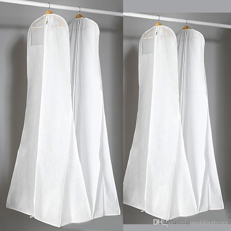 Épais sac à poussière blanc non tissé pour robe de mariée sacs de robe de soirée de bal 180 * 70 * 25 cm couvertures de vêtement de couverture de vêtement de voyage
