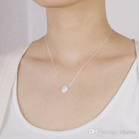 Симпатичные текстурированные круглый круг кулон neclace ключицы цепи простой матовый круг Ожерелье для женщин