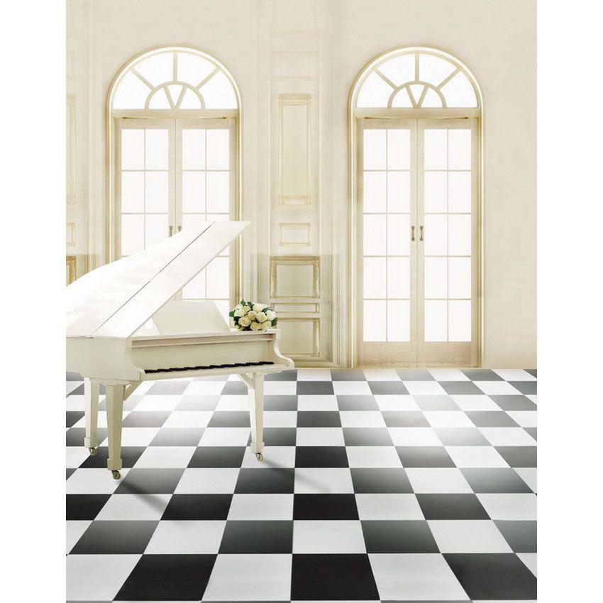 5x7ft Vinilo Digital Interior Blanco y Negro Piano Flor Puerta Fotografía Estudio Fondo telón de fondo