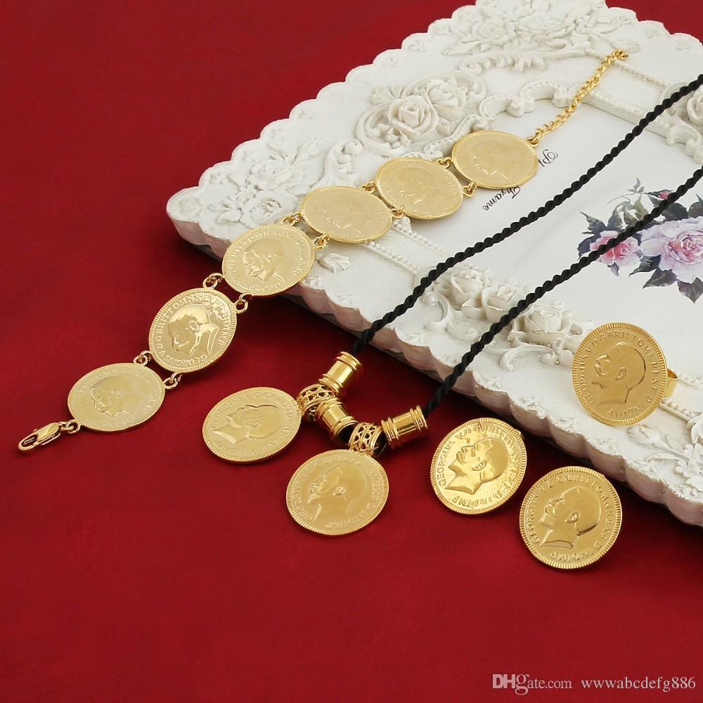 Sky talent bao Gold Coin ensembles de bijoux Portrait éthiopien Set de pièces de monnaie Collier Pendentif Boucles d'oreilles Bague Bracelet Taille chaîne de corde noire