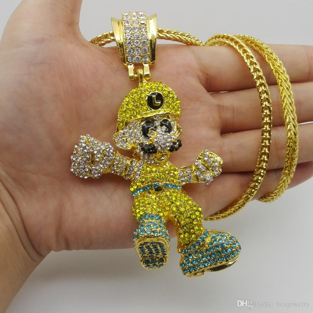 """ICED OUT THE WORLD IS YOURS PENDANT /& 18/"""" ICED OUT CUBAN CHAIN HIP HOP NECKLACE"""