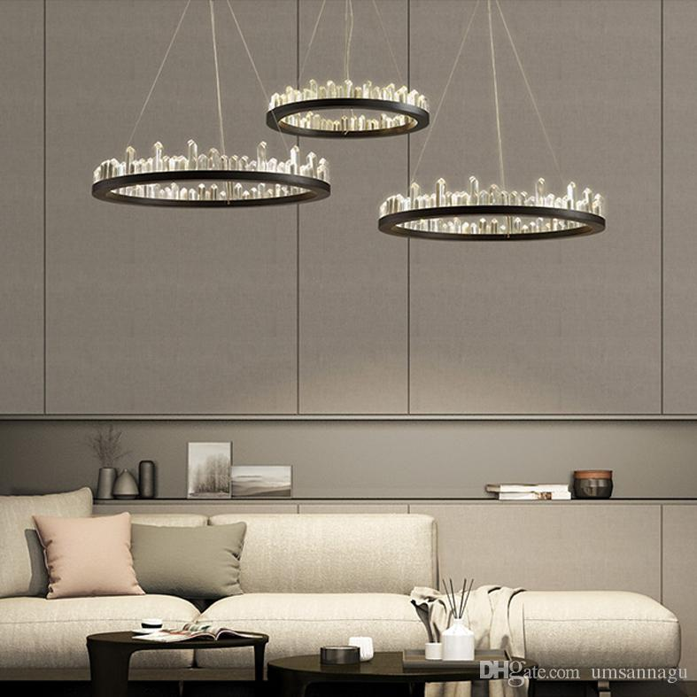 Modern Crystal Chandeliers American Round Chandelier Lights Fixture LED Dimmable Dining Room Living Room Hanging Lamps 3 Years Warranty