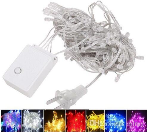 fast ship 10M 9 colors Waterproof LED Holiday String light Christmas Wedding Party Festival Twinkle Decoration lamp Bulb 220V /110V US EU