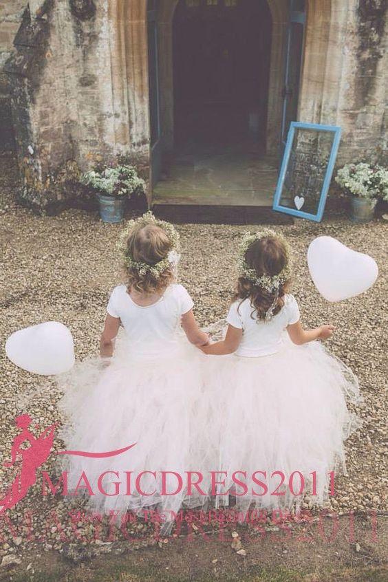 2019 Cute Princess Ball Gown Flower Abiti per ragazze TuTu Skirt Jewel Neckline maniche corte Ruffled Pleated Wedding Kids Comunione Dress