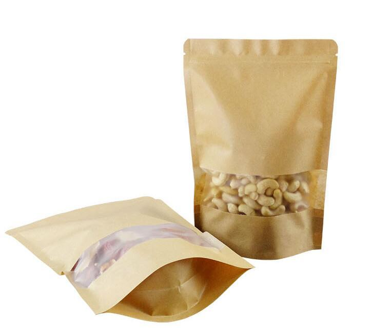 20*30cm frosted window Kraft Paper Gift Bag For Tea Powder Nut Food Cookie Packaging Zip Lock Bags Gift Bag For Children 02.15