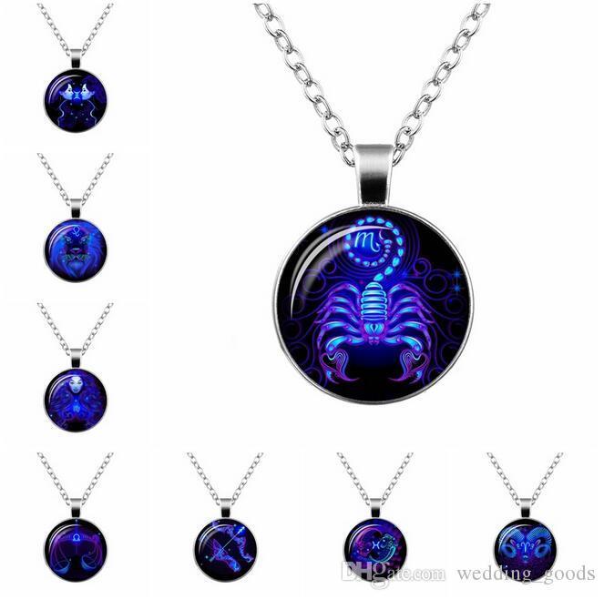 Good A++ Explosive new twelve zodiac time gem glass pendant necklace WFN359 (with chain) mix order 20 pieces a lot