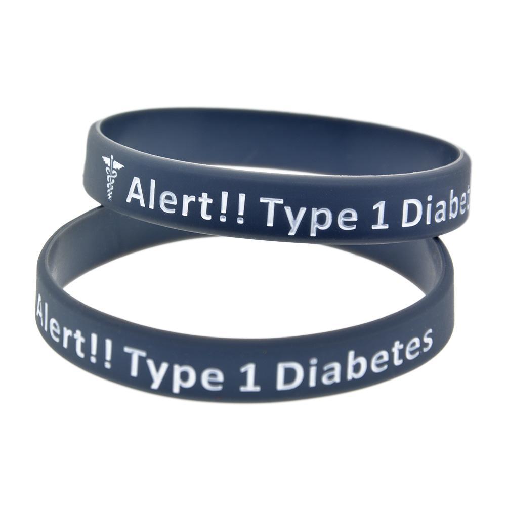 1PC Avvertimento Tipo 1 Diabete Diabete Braccialetti in silicone Dimensione adulto Un grande messaggio da portare in caso di emergenza