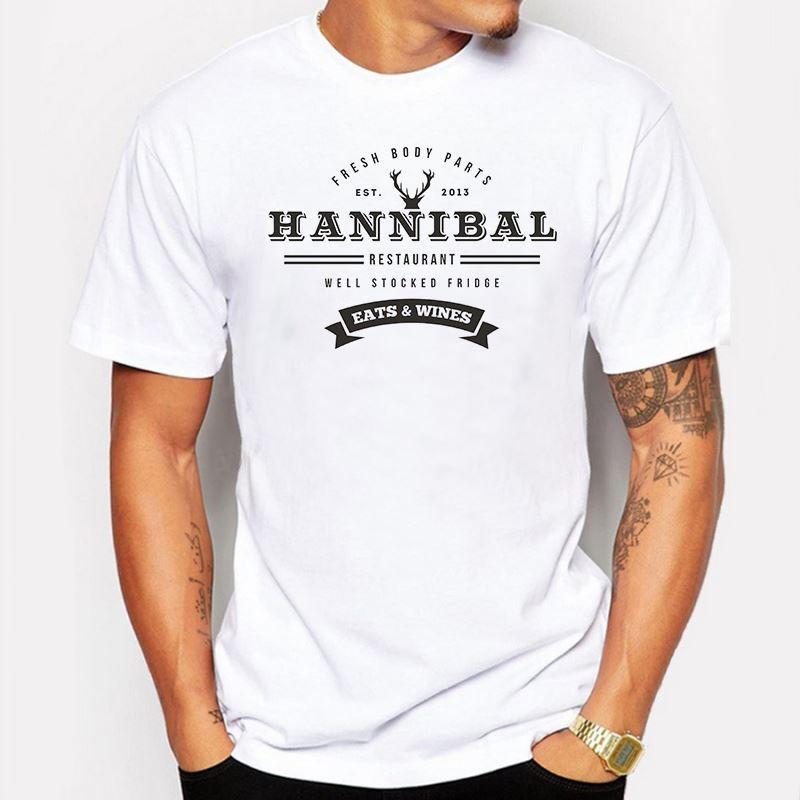 Мужская одежда лето мужчины футболка мода Ганнибал ресторан письмо печатных шорты рукав футболки тройники Битник футболка homme