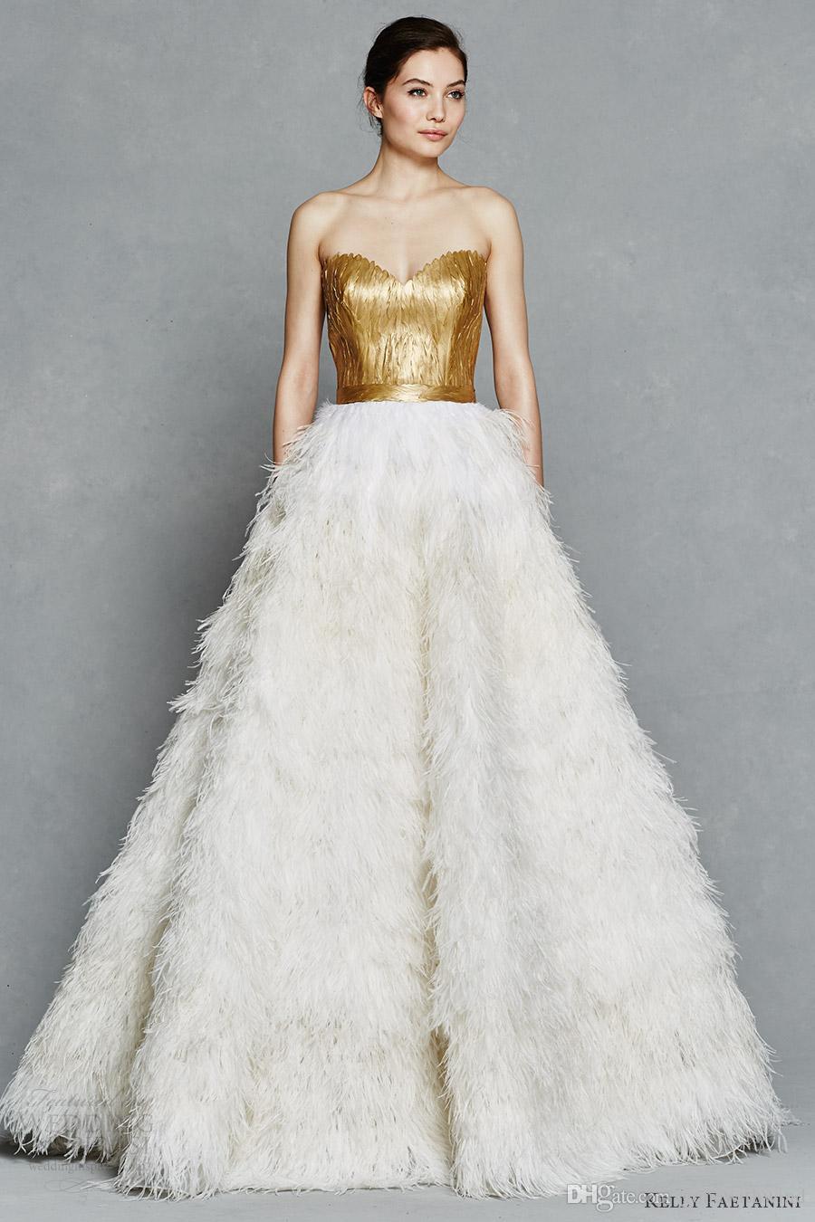 Feathered skirt wedding dress