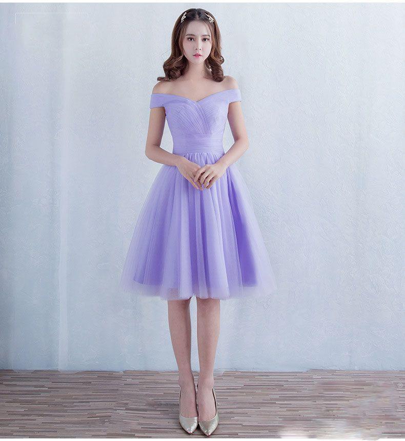 Sweetheart Off The Shoulder Lavender Prom Dresses Tulle Knee Length ...