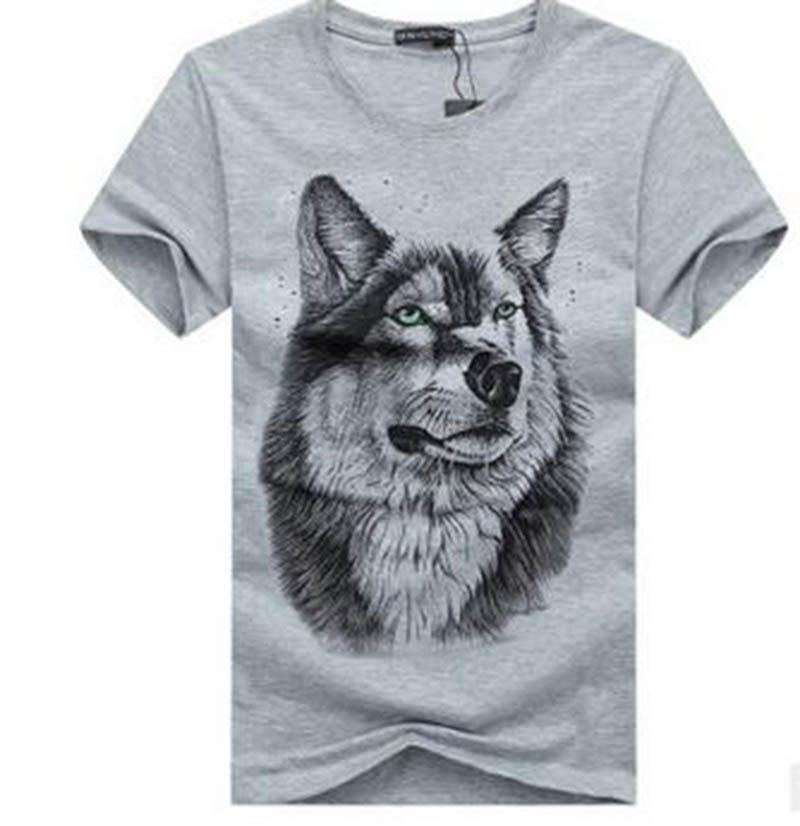 Men's short sleeves 2017 summer new short-sleeved T-shirt men's fat to increase the code half-sleeved T-shirt fashion trendy 3D wolf head pa