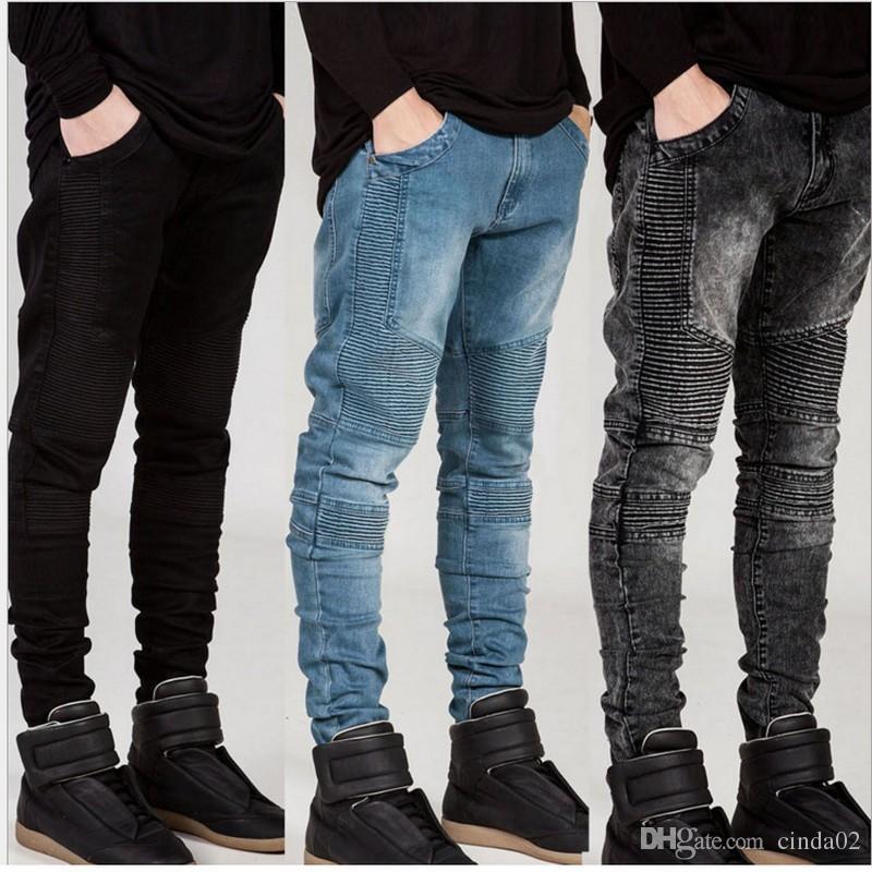 e0f8b2fe Mens Skinny jeans Runway Distressed slim elastic jeans denim Biker hiphop  pants Washed black jeans for men
