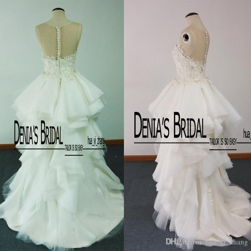 2016 New Real Images A Line Spaghetti Strap Jewel See Through Back Satin Sweep Train Wedding Dresses with Appliques Dhyz 01
