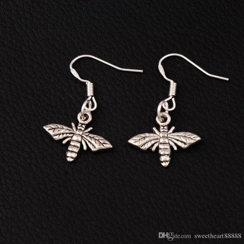 Bee Flying Earrings 925 Silver Fish Ear Hook 17.2x30.5mm 60pairs/lot Antique Silver Chandelier E962