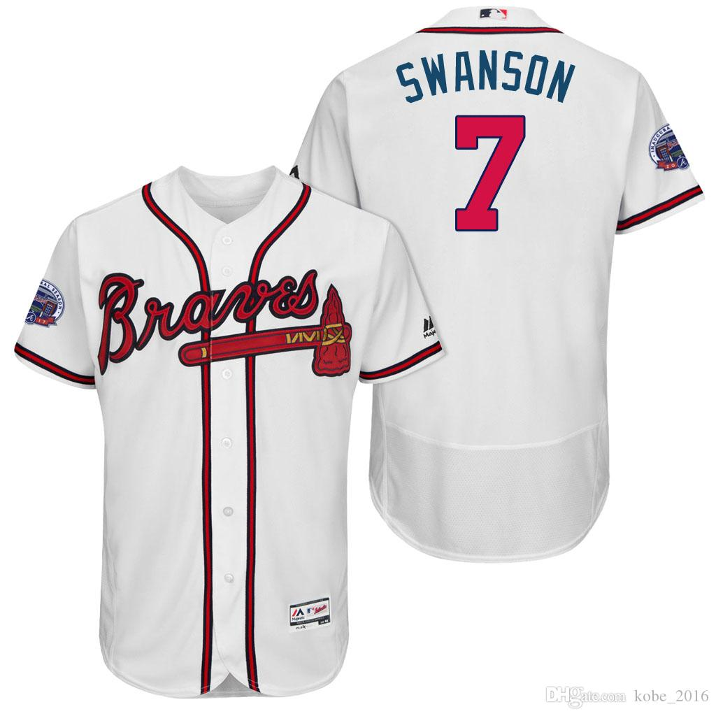 5d159e09d ... cool base jersey  2017 hot commemorative patch atlanta braves mens 7  dansby swanson 5 freddie freeman 6 bobby cox