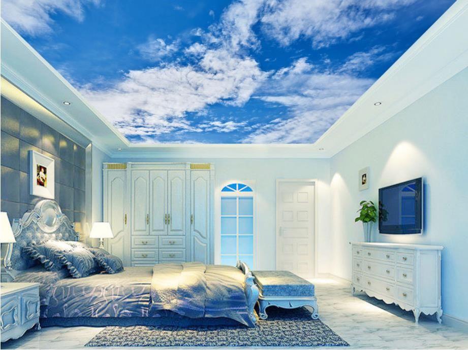 HD السماء الزرقاء والأبيض الغيوم صور خلفيات 3D السماء سقف خلفيات Stereoscopi غرفة نوم غرفة المعيشة خلفية 3D السقف