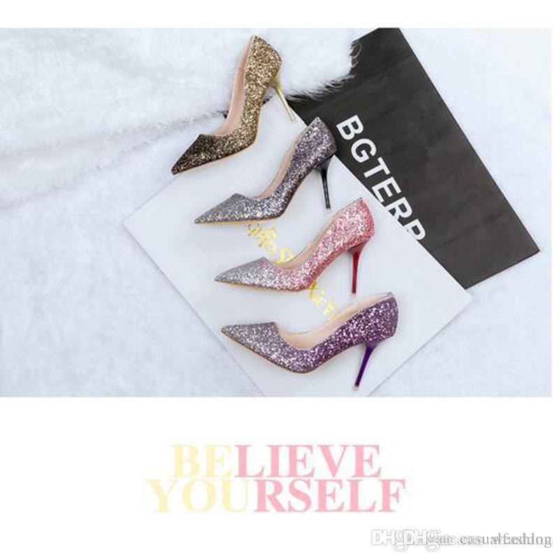 Scarpe sexy del partito dei tacchi a spillo dei paillettes delle signore popolari per le scarpe a punta appuntite delle scarpe nuziali di nozze di estate miste di colore delle signore Trasporto libero
