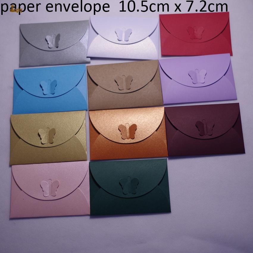 2018 Apresurado 100pcs 10.5cmx7cm perla de papel lindo colorido cierre de mariposa sobres / invitación de la fiesta de mailer-boda, cosas tarjetas Vip, tarjetas de presentación