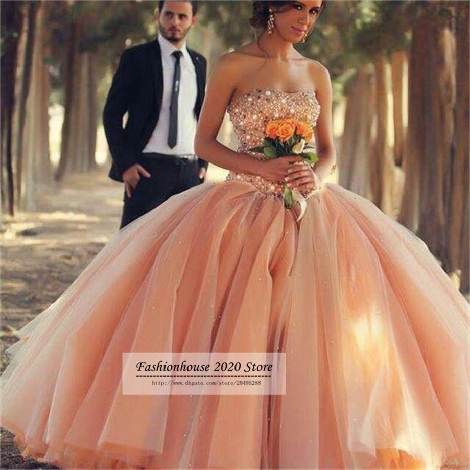 2020 Luxury Orange Arabic Style Bling Wedding