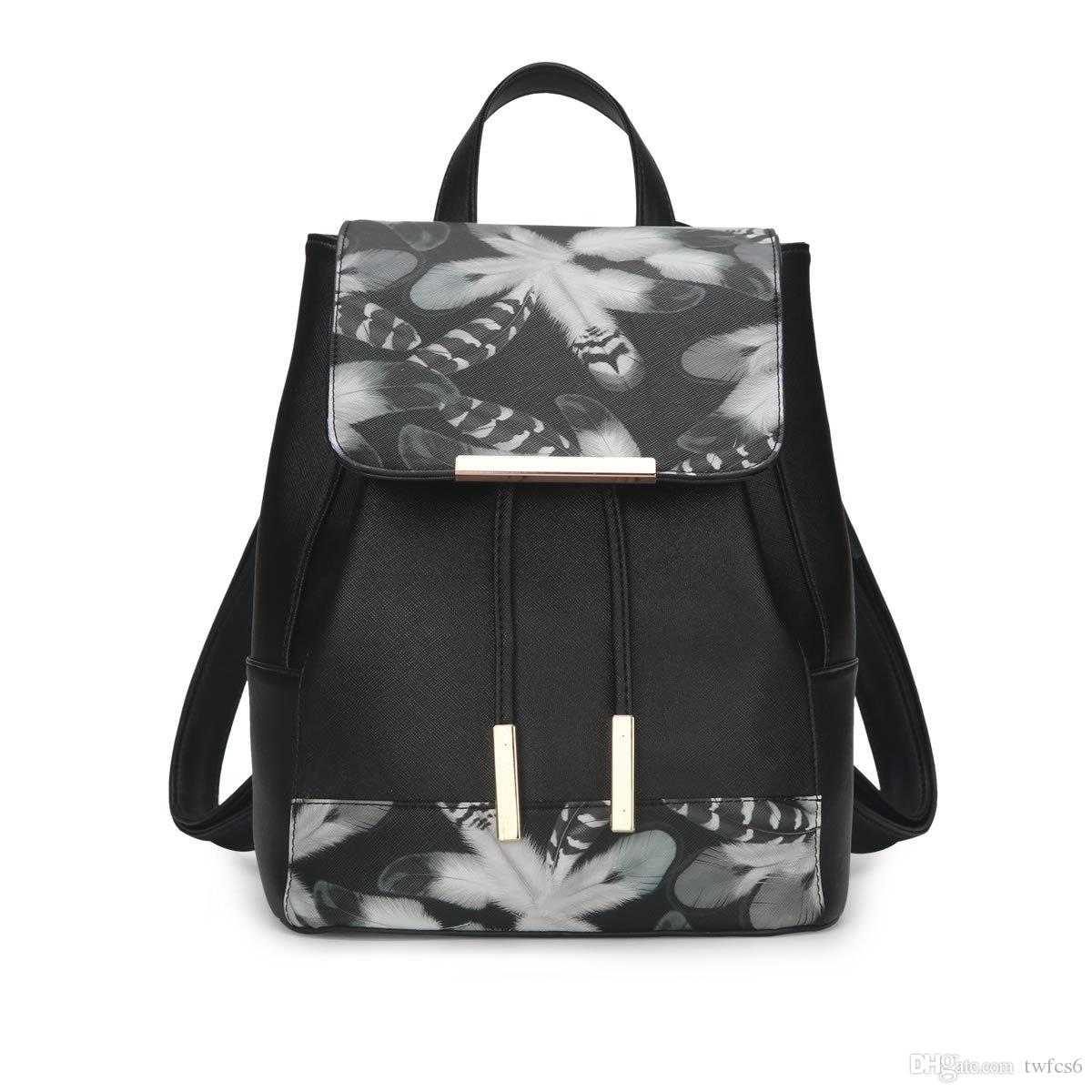 New fashion trendy ladies pretty butterfly feather black backpack bags young ladies high quality good shape backpacks bag