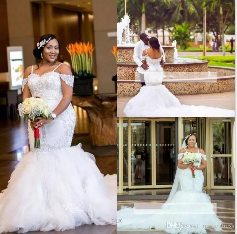 Glamorous African Plus Size Wedding Dresses 2018 Spaghetti Off Shoulder  Appliques Beaded Mermaid Long Train Arabic Bridal Gowns Cheap Custom Lace  ...