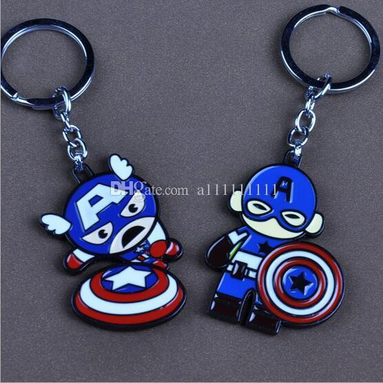 New Hot Captain American Key Chain Superhero Pendant Alloy Cartoon Key Ring Cute For Kids 2 Styles Free Shipping