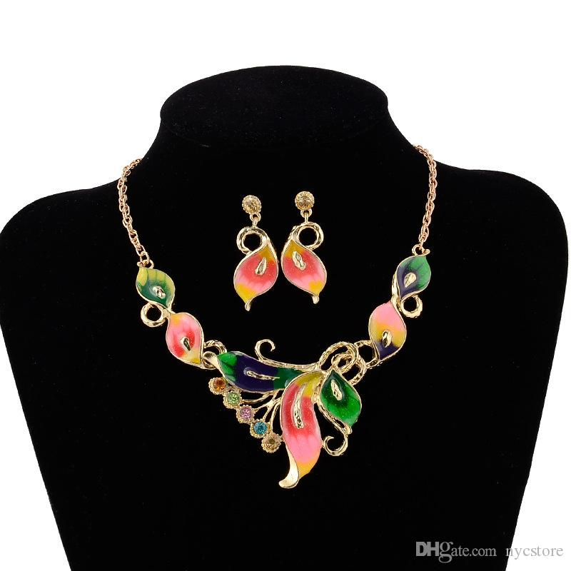18k Yellow Gold Plated Austrian Crystal Enamel bridal Jewelry Sets Flower Jewelry Sets Chain Necklace Earrings Sets