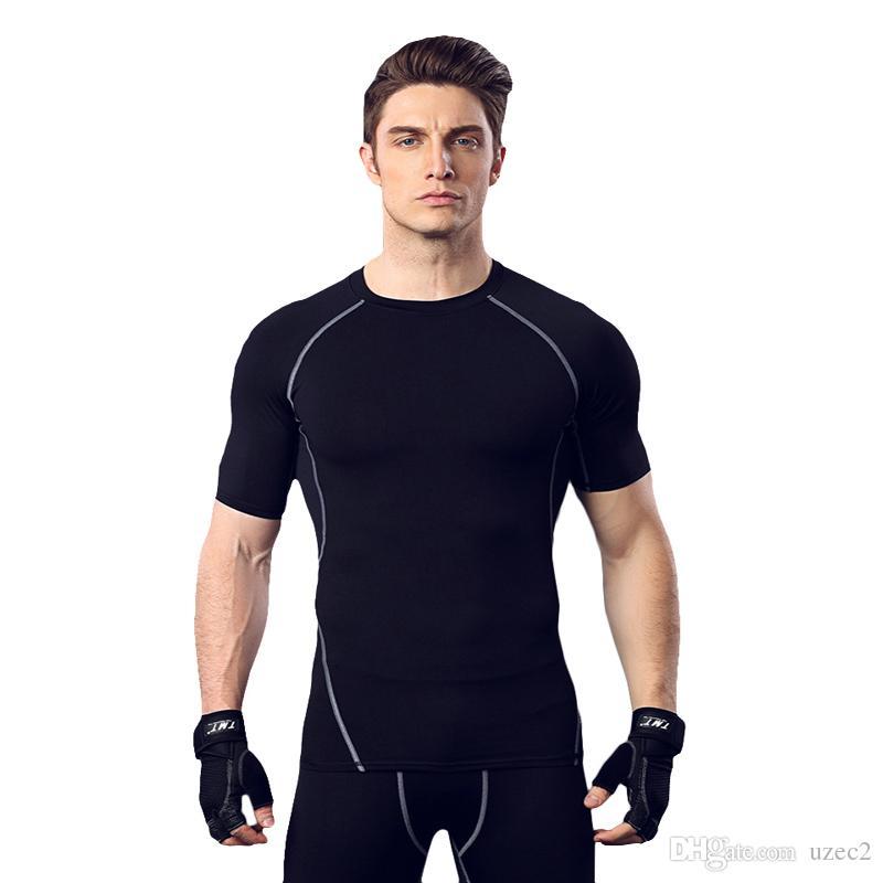탄성 압축 빠른 건조 스포츠 훈련 옷을 실행 피트니스 정장 남자 농구 짧은 소매 스타킹