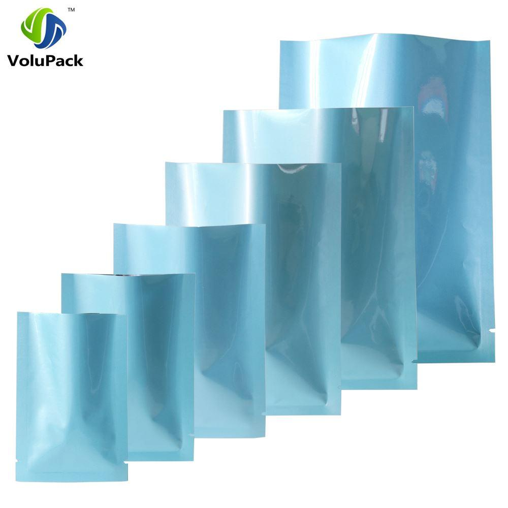 Variedad de tamaños 100 unids Brillante Calor Azul Calorías Bolsas Bolsa de almacenamiento de alimentos Bolsas de aluminio Paquete Mylar