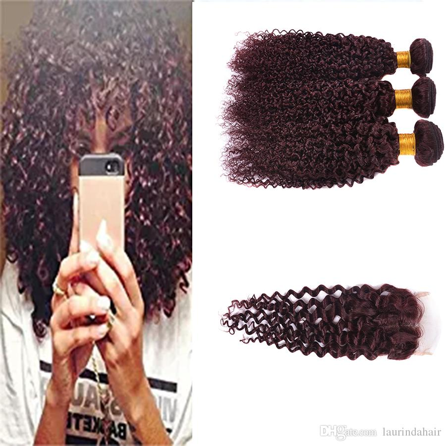 Burgundy Curly Wave Brazilian Virgin Hair Red Raw Curly Wave 99j Human Hair Weave Wet And Wavy 3 Bundles With Lace Closure