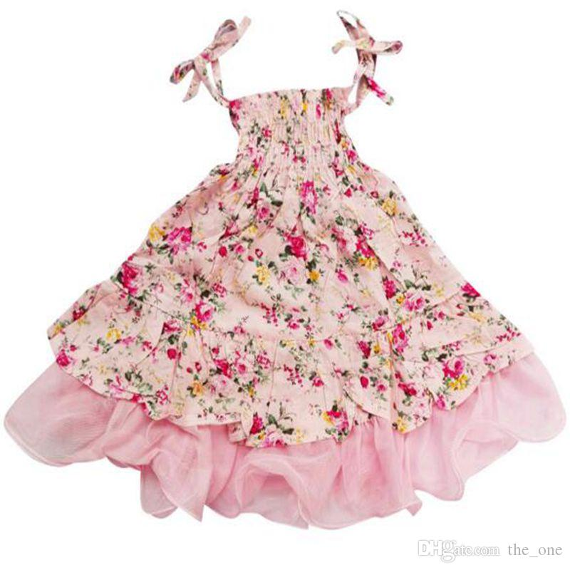 Baby Girls Dress New Summer Beach Style Floral Print Party Dresses For Girls Vintage Toddler Girl Clothing free shipping