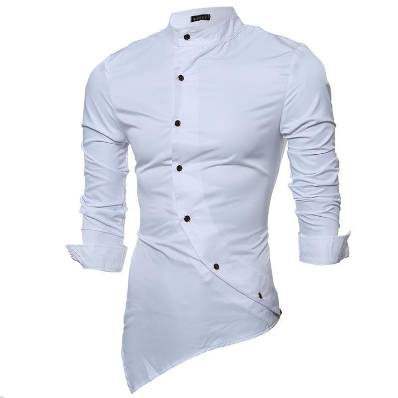 2020 envio GRATIS a todo el mundo tiendas populares Compre Camisas De Moda Para Hombres Camisas De Manga Larga Mandarin Collar  Camisas De Ocio Camisas Para Hombres Moda Camisas De Oblicuo Con Un Solo ...
