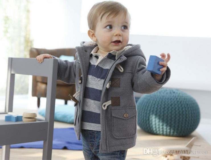 fc33ac5b2 ... New Europe Fashion Baby Boys Coat Kids Hooded Outwear Jacket Children  Boy Coats Gray Khaki W067