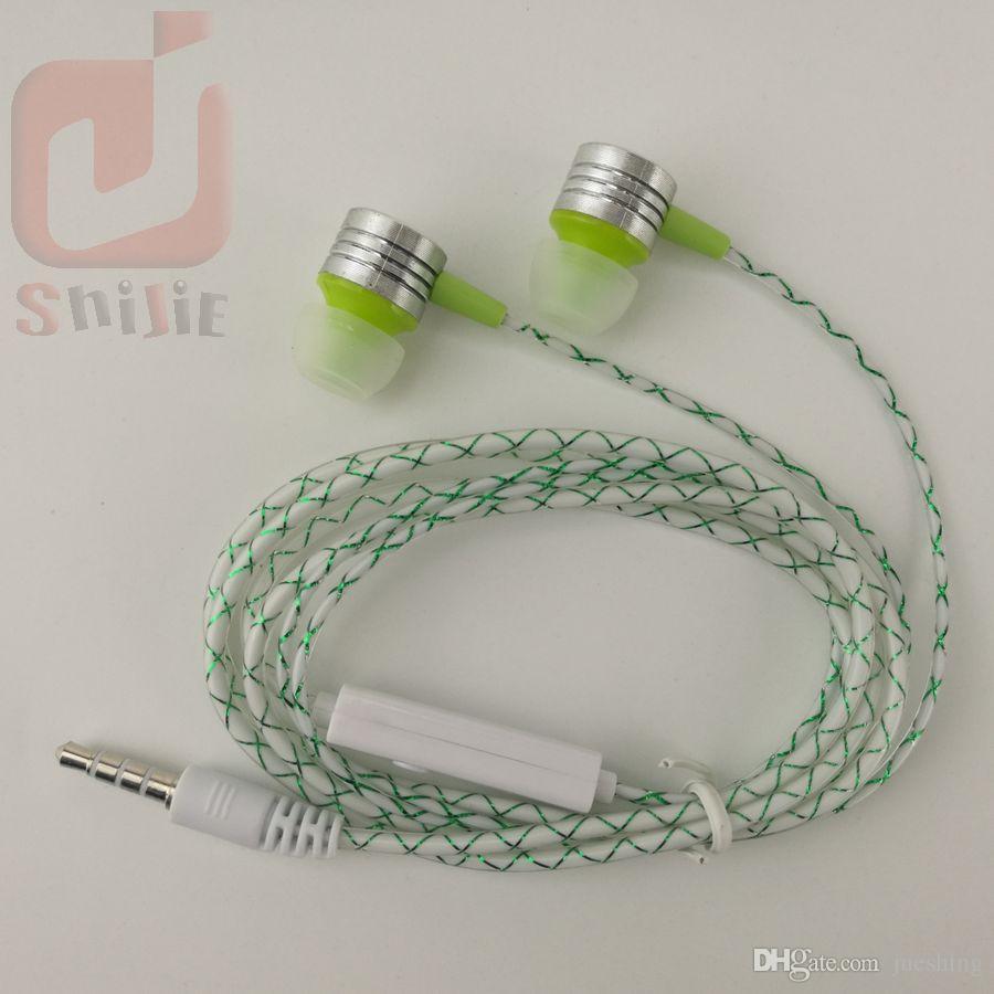 Cobwebbing Reticulate Fine Lines Kopfhörer mit Mikrofon Metallkopf Hörmuschel Noise Cancelling Kopfhörer mit Mikrofon 6 Farbe 500ps / lot