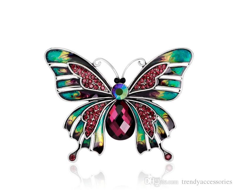 Vintage Jewelry Large Enamel Esmaltes Butterfly Brooches Corsage Brooch Lot Wedding Broach Violetta Insect Hijab Pin Up Broches