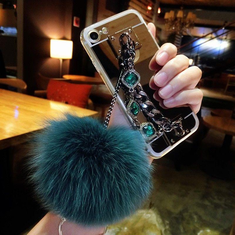 For Samsung galaxy G530 a3 a5 a7 a8 2017 2018 grand prime Luxury Fashion Diamond Bracelet chain Fox soft pompom fur ball mirror case