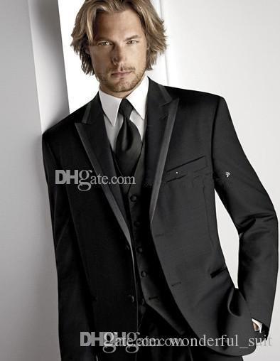Top empfehlen zwei Tasten schwarz Bräutigam Smoking Peak Revers Groomsmen Best Man Anzug Herren Hochzeitsanzüge (Jacke + Hose + Weste + Krawatte) Nr .: 430