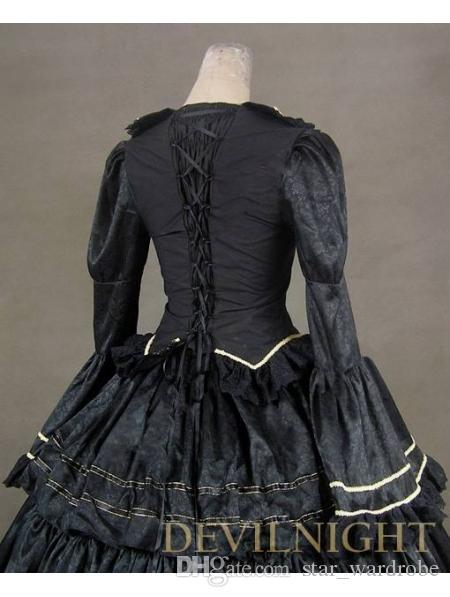 c972a4e164d Black Vintage Royal Gothic Renaissance Victorian Steampunk Dress Gown Civil  War Era Ball Gown For Hallowemas