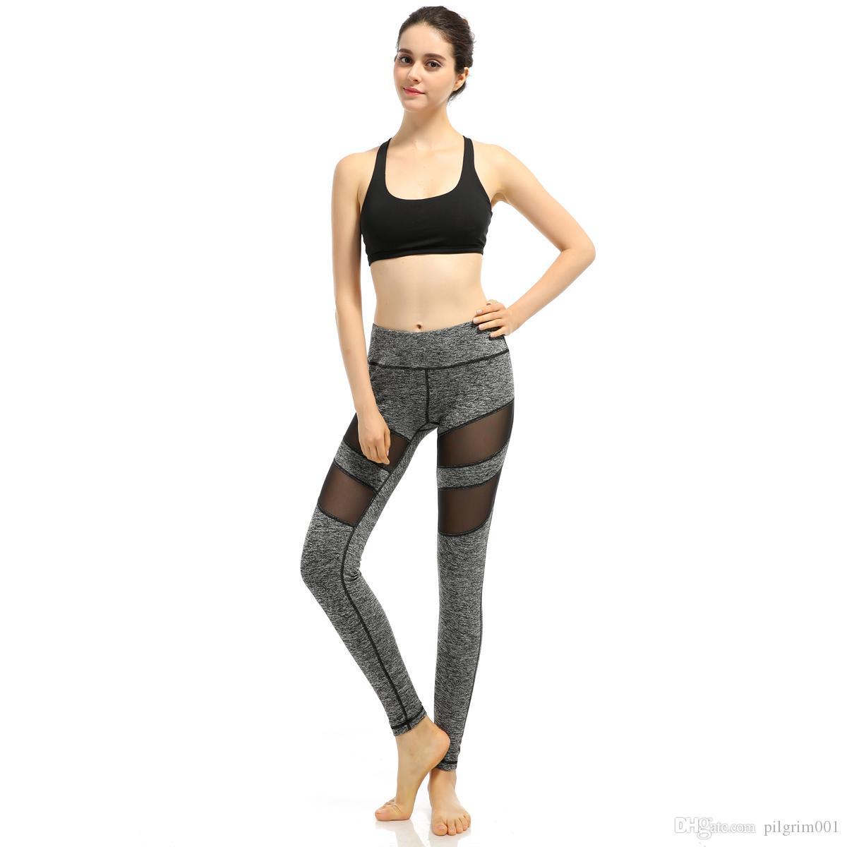 2018 Mujeres Yoga Pantalones de malla Patchwork Lápiz Pantalones Elasticidad Delgado Jeggings Señoras Leggins Pantalon sport Stretch Femme pantalones
