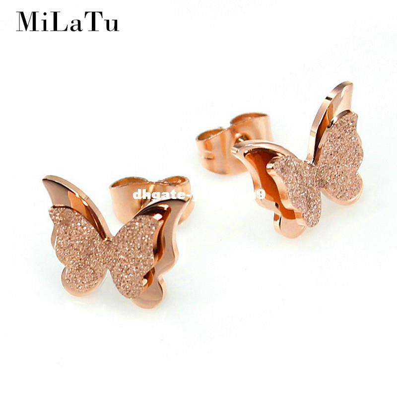Beautiful Butterfly Stud Stainless Steel Earrings Jewelry for Women Girls Gifts Presents