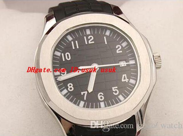 Najwyższej jakości Automatyczny zegarek Mężczyźni czarny wybieranie srebrny szkielet gumowy zespół przezroczysty tył 5167 1A -001 zegarek