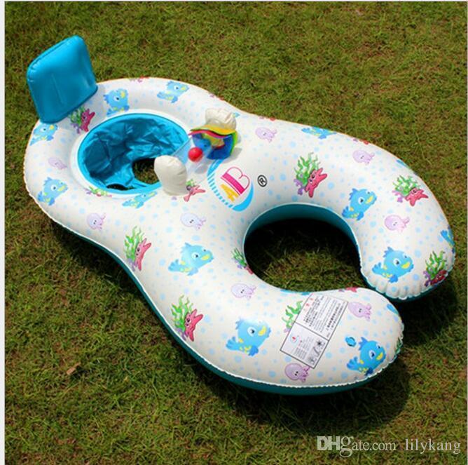 Madre inflable suave del bebé de la nadada del anillo balsa del flotador de los niños flotantes silla del asiento de natación, mamá juguete de la piscina tumbona bebé Anillos de la natación flotante