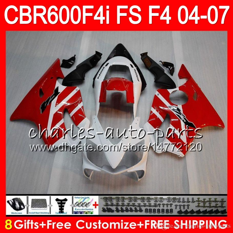 8GIFTS 23Couleurs pour Honda CBR 600 F4I CBR600F4I 04 05 06 07 AAHM11 Rouge Blanc Rouge CBR600FS FS CBR600 F4I CBR 600F4i 2004 2005 2006 2007 Catériel