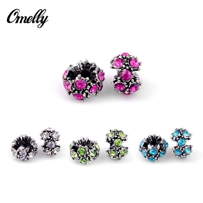 Branelli Pandora di cristallo a forma di ciondolo con perle di cristallo strass rosa chiaro Bracciale fai da te