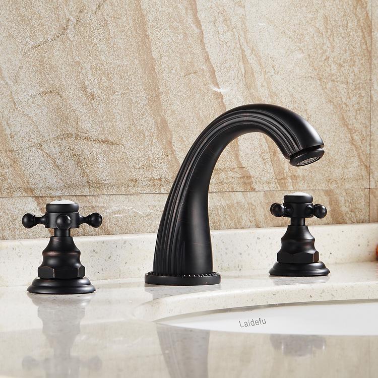 Antique New Design 3Pcs Black Polished Solid Brass white ceramic Bathroom Basin Sink Mixer Tap Basin Faucet