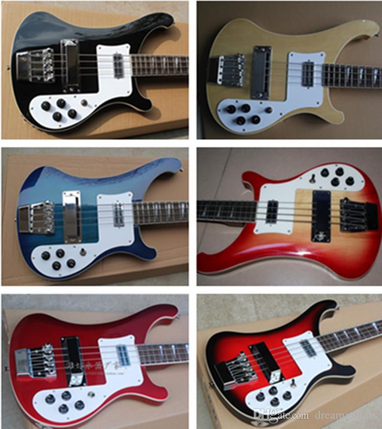 Hot Sale Personalizado 4003 Baixo nova chegada 4 cordas cor Guitarra baixa elétrica Natural, Preto, Azul Cereja Explosão guitarra chinesa