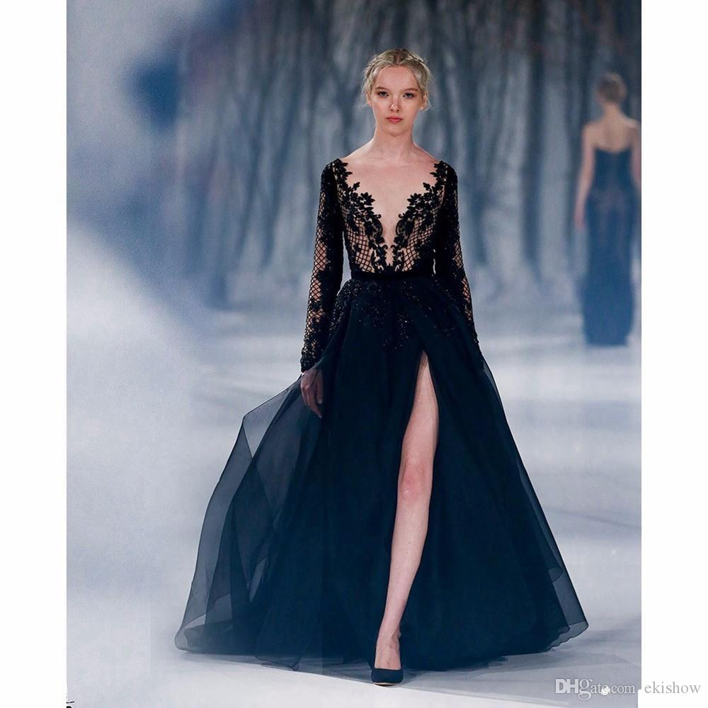 cheap sexy v-neck t-shirt dark blue backless long prom dresses 2017 with front split sweep train evening gown special occasion dress