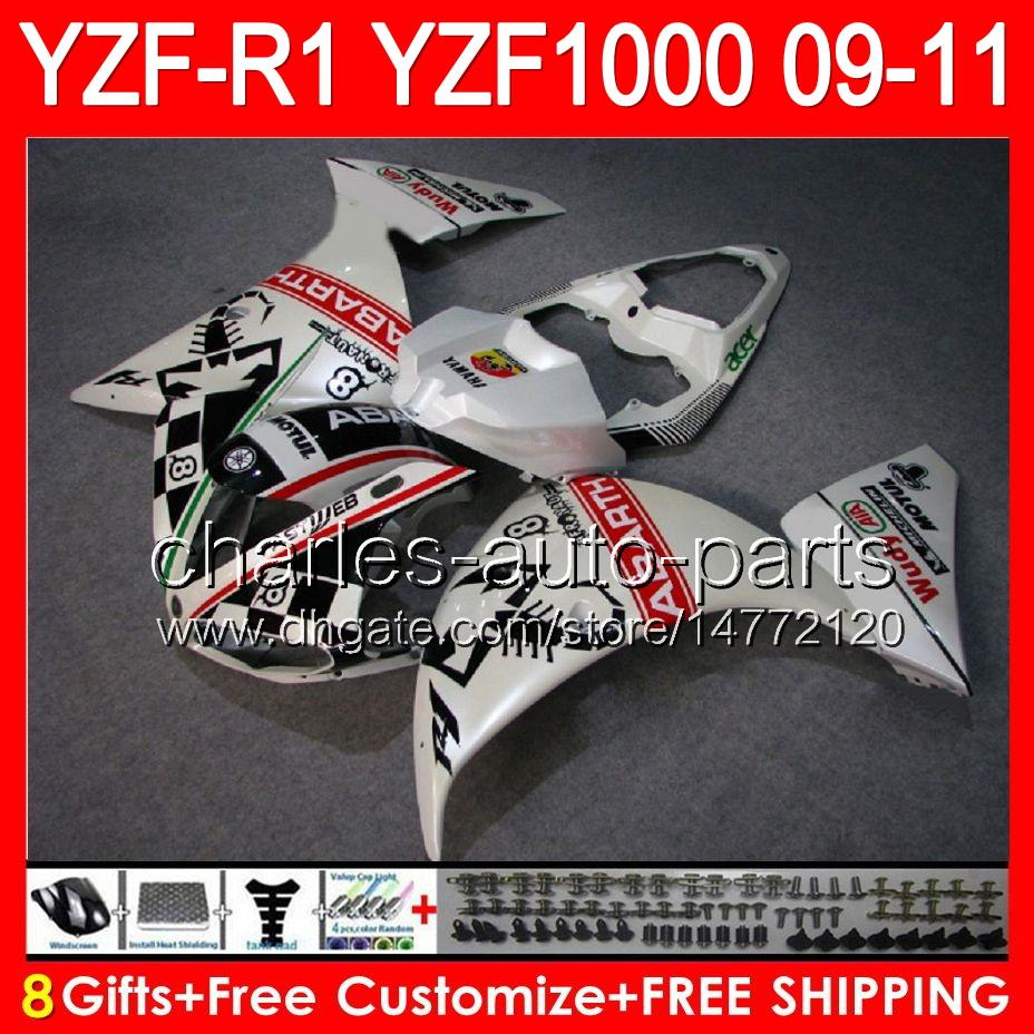 8gifts Scorpion white Body For YAMAHA YZFR1 09 10 11 YZF-R1 09-11 95NO95 YZF 1000 YZF R 1 YZF1000 YZF R1 2009 2010 2011 TOP Scorpion Fairing