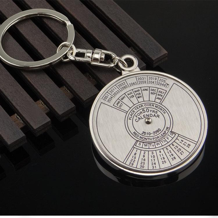 Brand New Practical Mini Perpetual Calendar Keychain Ring Unique Metal Keyring 50 Years