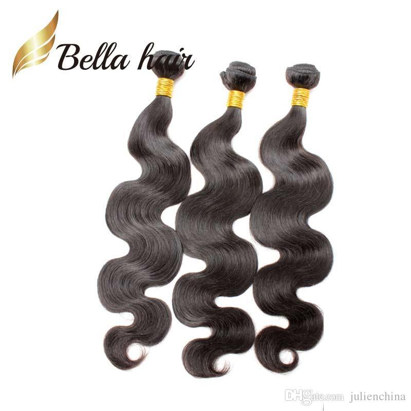 Grade 9A 100% tessuto brasiliano dei capelli 10 ~ 24 pollici dell'onda del corpo dei capelli umani tesse 3pcs / naturale Nero Colore dei capelli brasiliana Bundles